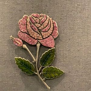 BEAUTIFUL PINK ROSE BROOCH